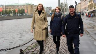 Lena Dalerup, Innerstaden Göteborg, Emma Löwendahl, SDF Centrum och Ola Skogsberg, Polisen. Foto: Elin Asplind.