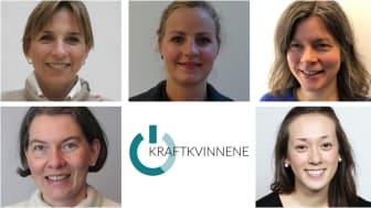 """Disse fem Norconsult-medarbeiderne er nominert til """"Årets Kraftkvinne"""". Øverst fra venstre: Jorunn Røegh, Ingeborg Lassen Bue, Ella Beate Brodtkorb, Franziska Ludescher-Huber og Ida Gotvassli."""