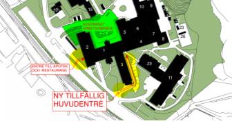 I januari kommer en ny tillfällig huvudentré att ersätta de alternativa entréer som nu används vid Avesta lasarett. Orangea skyltar kommer tydligt att visa var den nya huvudentrén finns..
