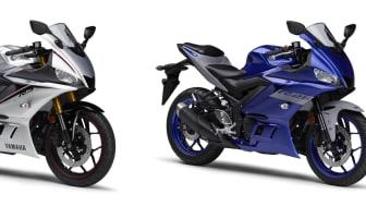 写真左より、「YZF-R3 ABS」マットシルバー、「YZF-R25 ABS」ブルー、「YZF-R25」マットブラック