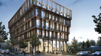 Trähuset Nodi i Nya Hovås blir en signaturbyggnad och entré för hela stadsdelen. Ritat av White Arkitekter.