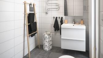 Illustration av interiör, badrum ovanvåning, BoKlok småhus, 2021.