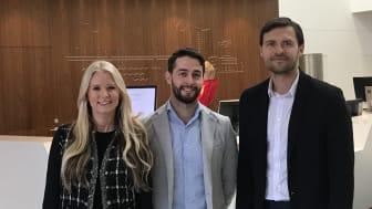 Från vänster: Jeanette Rumenius - Deputy CEO på A Society, Lucas Uhlén - Strategisk inköpare hos Länsförsäkringar, Peter Magnusson - Business Manager på A Society