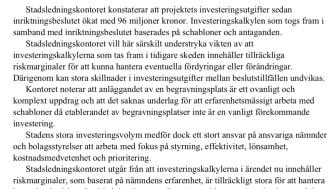 Kalkyl 2019: 330 miljoner (R3 Utl Genomförandebeslut Järva begravningsplats - etapp 1)
