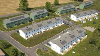 Illustration av det nya området BoKlok Sjöliden i Berg, Linköping, med solceller på taken.