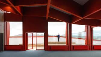 Vy från Kunskapshusets konferensrum med utsikt över lågfjället Dundret.