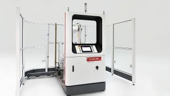 The new semi-open palletizing cell with an industrial robot arm simplifies the complex processes of a traditional palletizer.