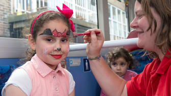 Face painting at Go North East family event.