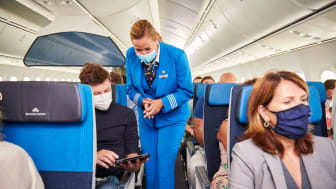 Crew and passengers onboard KLM