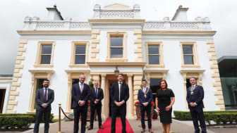 Robin Walker MP, NIO Minister, pictured centre with L-R: Colin Johnston, Galgorm Resort & Spa, Ian Paisley MP, Mayor Cllr Peter Johnston, MEABC Chief Executive Anne Donaghy, and Deputy Mayor Cllr Andrew Wilson
