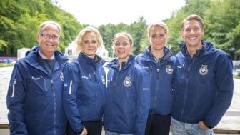 Förbundskapten Bo Jenå tillsammans med spetstruppsryttarna Juliette Ramel, Therese Nilshagen, Antonia Ramel och Patrik Kittel. Foto: Roland Thunholm