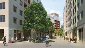 Södra Hagalund_Vy pa gata mellan kv 2 och 3_BSK Arkitekter