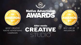 Dubbla guld till Aller media i Native Advertising Awards