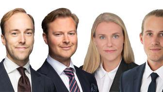Cushman & Wakefield förstärker Valuation & Advisory med fyra nya medarbetare i Stockholm. Från vänster; Claes Hielte, Staffan Dahlén, Annie Lilja och Johan Östberg.