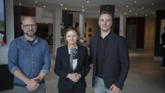 Christian Franzetti och Gilbert Holmgren tillsammans med VD för Hotell Tylösand, Elisabeth Haglund