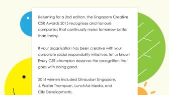 Singapore Creative CSR Awards 2015 - Call for Entry OPEN!