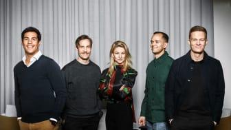 Fr.v.: Antoine Coopoosamy, Henry Mäkelä, Lisa Farrar, Patrik Segersven och Magnus Dahlquist. Foto: Christian Gustavsson