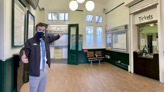 Dulwich decor: Station Manager Nathaniel Owen invites passengers to North Dulwich station's Twenties-style transformation