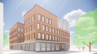 Visionsbild över entrén till Kävlinge kommuns nya Medborgarhus. Illustration: Fojab Arkitekter