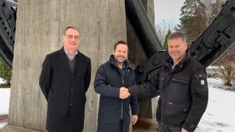 Sten Bergman, CTO Solör Bioenergi AG - Nicklas Eld, regionchef Solör Bioenergi Väst - Anders Malmström, VD Bionär Närvärme AB