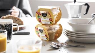 Syksyn uutuus mangotuorepuuro maistuu aamupalapöydässä, mutta se on myös helppo napata mukaan iltapäivän välipalaksi.