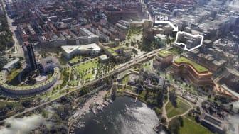Kvarteret Pisa i Hagastaden kommer vila på Norra länkens norra tunnelmynning. Bild: Stockholms Stad och White arkitekter.