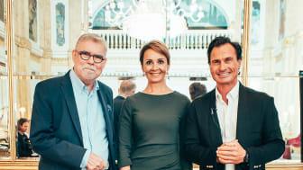 Nye og gamle ejere (fra venstre: Ari Tolppanen, formand for CapMan, Laura Tarkka, administrerende direktør Kämp Collection Hotels og Nordic Choice Hotels Petter Stordalen