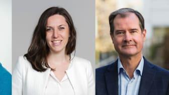 Fr vänster Catharina Elmsäter-Svärd, vd Byggföretagen, Cathrine Danin, senior ekonom på Swedbank Makroanalys och Mårten Lilja, vice vd Riksbyggen samt chef för affärsområde Bostad.