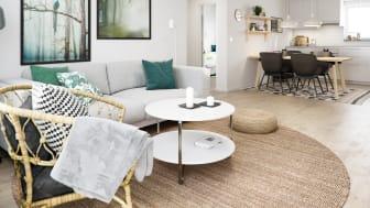 Illustration av interiör, vardagsrum mot kök, BoKlok-lägenhet 4 rok, 2021.