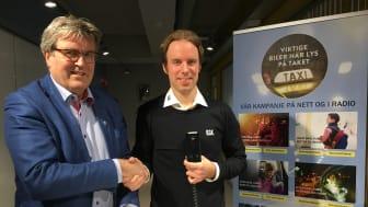 Kurt Gjøen, adm. Direktør i Oslo Drosjeeieres Innkjøpslag SA (venstre), Christian Salvesen, prosjektansvarlig for samarbeidet med taxinæringen i Norge (høyre).