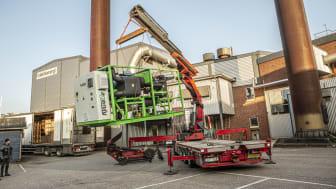 Leverans av ORC-turbin vid anläggningen i Svenljunga