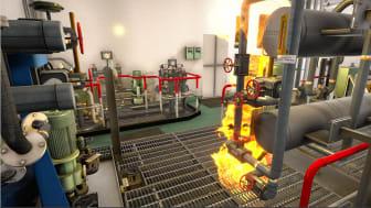 Equipment fire simulation