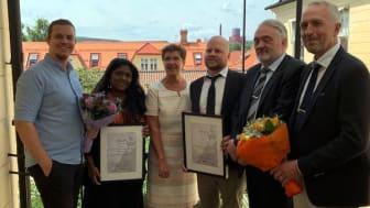 """Dalavinnare av 2019 års SKAPA-priser innovarionerna """"Kwikk"""" och """"Optopro"""" fick ta emot priset av landshövding Ylva Thörn 19 juni 2019."""