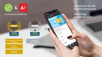 Vierfache Gewinner des German Stevie Award 2021 - Appsfactory und flaschenpost