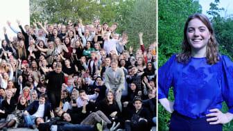 Till vänster: Elevkårsaktiva unga under Sveriges Elevkårers medlemsevent Upptakt19. Till höger: Ordförande Ebba Kock.