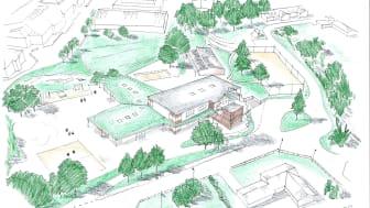 Bilden visar en perspektivbild på den nybyggda förskolan Persborg från söder. Taket på plan 1 är beklätt med gröna tak, så att gående på Persborgsvägen ser ner på en grön yta. Fasadens utförande blir i fasadtegel kombinerad
