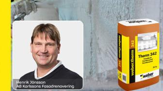 Henrik Jönsson på AB Karlssons fasadrenovering har webertherm 342 som sin Weber-favorit