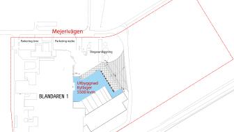 Ritning över Umeå mejeri med blåmarkerad utbyggnad 5500 kvm för nytt kyllager.