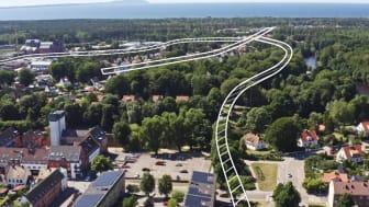 En skiss över hur Klippanvägen kan förlängas över Rönne å och ansluta till Havsbadsvägen och Järnvägsgatan.