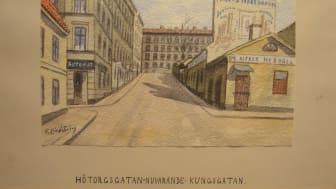 Akvarell av Stockholmskonstnären Frans Lindström som ingår i utställningen En svunnen stad. Konstnären Frans Lindström (1874–1954) på Skånelaholms slott.