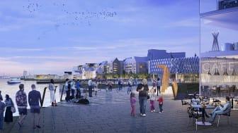 Visionsbild över Skeppsbron. Illustration: Kanozi Arkitekter