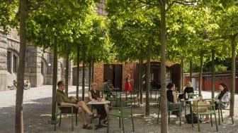Museets bakgård bjuder på mat och dryck med närhet till Djurgårdens alla attraktioner. Foto: Helena Bonnevier, Nordiska museet.