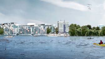 Gröndal Strand sett från vattnet. Arkitekt: Bengt Rydén MAP Stockholm, ark SAR/MSA.