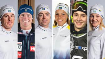 Johan Häggström, Felix Monsén, Martin Bergström, Johanna Hagström, Hugo Burvall och Lisa Vinsa. Foto: Bildbyrån (längdåkare), Klas Rockberg (alpint) och Niklas Eriksson (freeski).