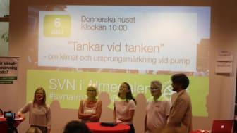 Från vänster: Johanna Grant, ordförande Gröna Bilister; Karin Svensson Smith (Mp), ordförande Trafikutskottet; Ida Lemoine, VD Beteendelabbet; Stefan Samuelsson, affärsområdeschef retail St1, Per Östborn, drivmedelsansvarig Gröna Bilister