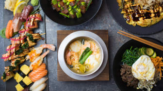 Delar ur brunchmenyn på Raw Sushi & Grill – Sushi à la kockens, Poké bowl, Japansk pannkaka, Japansk fiskgryta och Bibimbap
