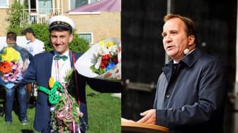 """Ensamkommande Ali Zardadi, nybakad student och undersköterska. Statsminister Stefan Löfven, Medborgarplatsen 6.9.2015. """"Mitt Europa stänger inga gränser."""" Foto Maja Suslin/TT, från regeringen.se."""