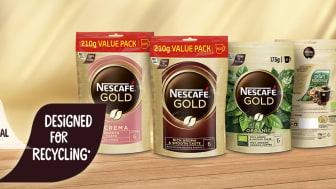 Oppgradering: Den nye refill-forpakningen til Nescafé Gull veier mindre og er enklere å resirkulere.
