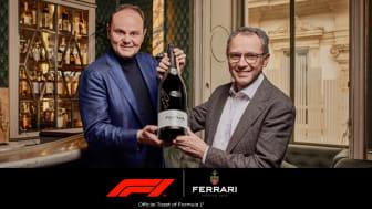 Matteo Lunelli från Ferrari Trento och Stefano Domenicali från Formula 1® med Ferrari Jeroboam