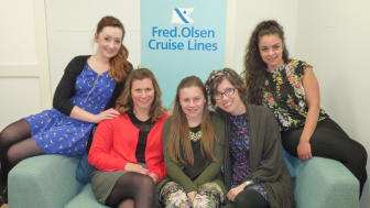 Fred. Olsen Cruise Lines' new 'Trade Support' team are pictured at the company's Head Office in Ipswich, Suffolk. Left to right: Becky Smith, Clair Farthing, Sophie Barrett, Emma Scrivener and Salume Van Tankeren.